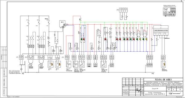 Схема электрическая шкафа управления приточно-вытяжной вентиляцией ШАКПВ...